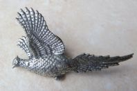 Contemporary Pheasant Brooch In Pewter By Designer A R Brown